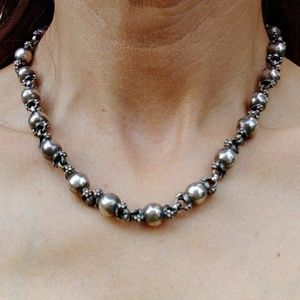 Outstanding Heavy Vintage Sterling Bead Necklace